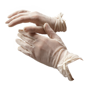 Guantes cortos de tull ivory
